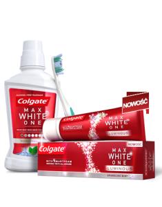 pasta wybielająca z płynem do płukania jamy ustnej i szczoteczką - zestaw Colgate do wybielania zębów