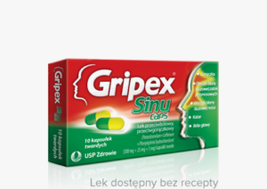 opakowanie tabletek gripex sinu taps na ból zatoki